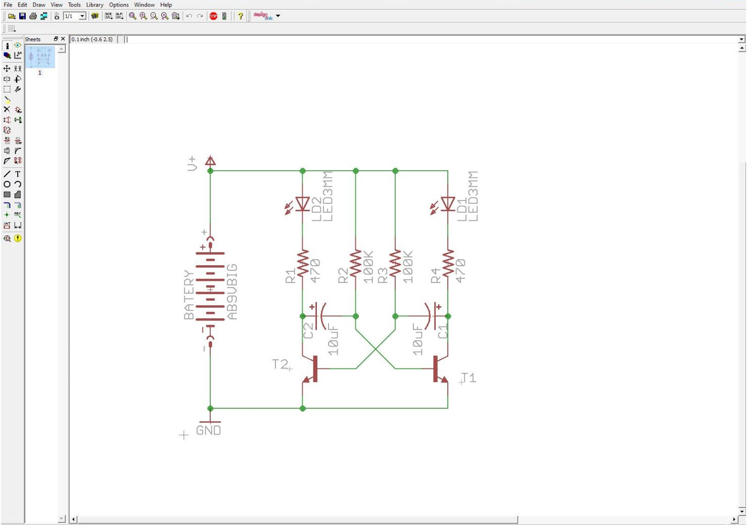 Twinteeth Plotting Pcbs Using A Marker Pen An Eagle Board Example Schematic First You Have To Design The Circuit Editor We Will Use Typical Two Transistor Blinker As