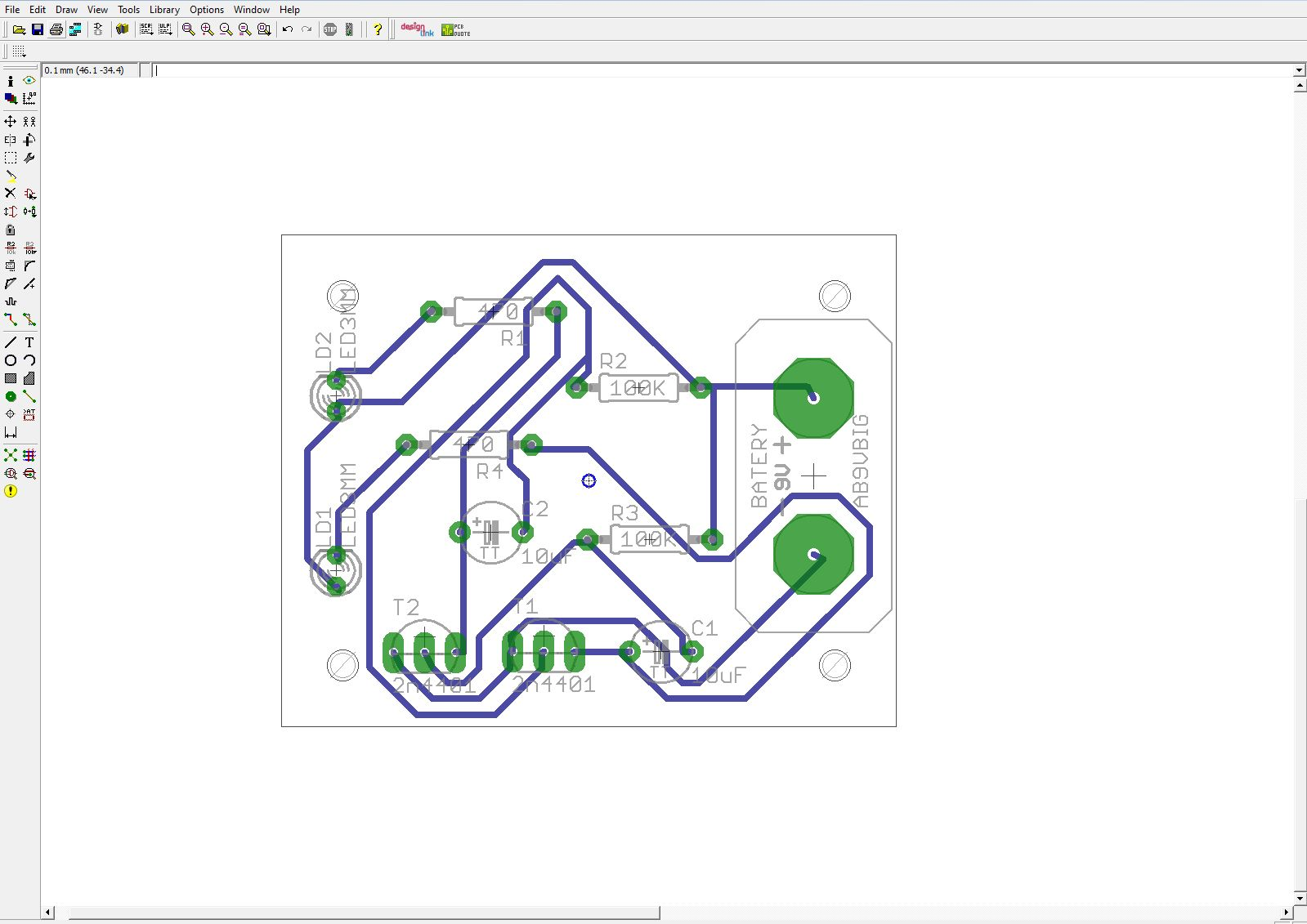 Twinteeth Plotting Pcbs Using A Marker Pen Holes Are Drilled In Sample Circuit Board At Positions Required For Use Trace And Clearance Sizes According To The You Will This Example We Traces Of 05mm With